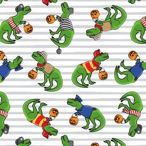 Trick or Treating Trex - halloween dinosaurs - grey stripe toss - LAD19