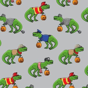 Trick or Treating Trex - halloween dinosaurs - grey - LAD19