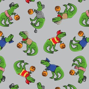 Trick or Treating Trex - halloween dinosaurs - grey toss - LAD19