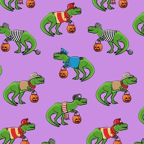 Trick or Treating Trex - halloween dinosaurs - purple - LAD19