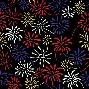 Field of Fireworks (Patriotic on Black)