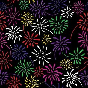 Field of Fireworks (Rainbow on Black)