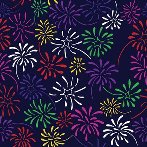 Field of Fireworks (Rainbow on Navy)