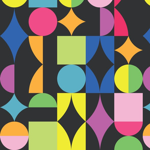 Retro dots and squares on dark background