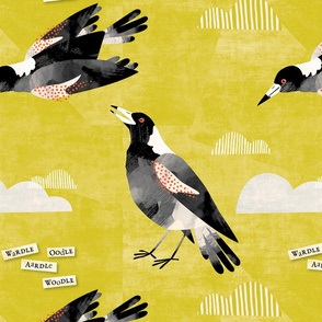 Magpie watercolor gold