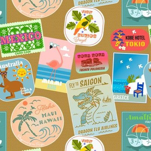 Vintage travel stickers (suitcase)