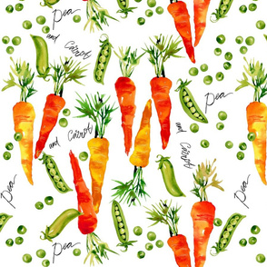 green peas and juicy carrots