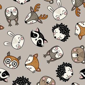 cute woodland animal heads – grey