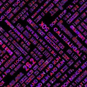 running motivation - red & purple RAILROAD on black background