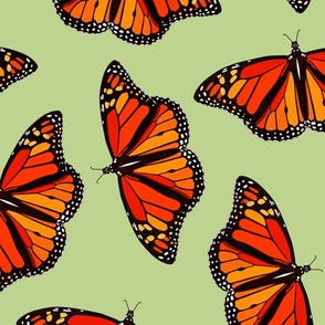 Monarch butterflies pattern on mint green - large