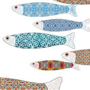 millefiori fish repeating spoonflower transparent background