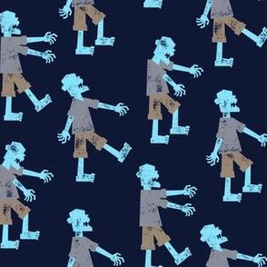 Zombie walk - halloween fabric  - blue - LAD19