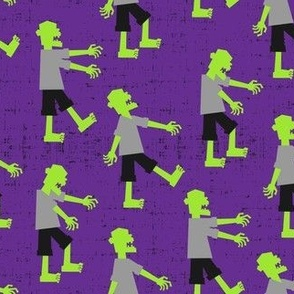 Zombie walk - halloween fabric - purple - LAD19