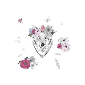 "12"" Girl Wolf Flowers"