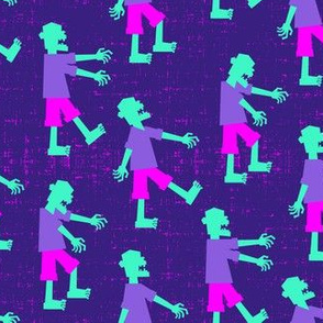 Zombie walk - halloween fabric - purple and pink - LAD19