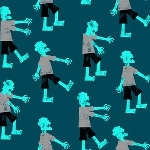 Zombie walk - halloween fabric - teal - LAD19
