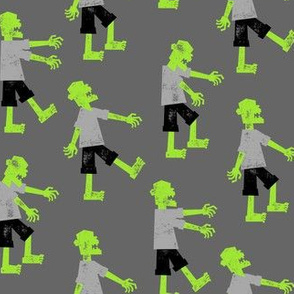 Zombie walk - halloween fabric - green on grey - LAD19