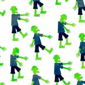 Zombie walk - halloween fabric - green - LAD19