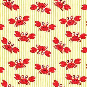 (small scale) cute crabs - nautical summer - yellow stripes - LAD19BS