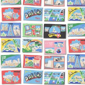 sketched 70's postcards