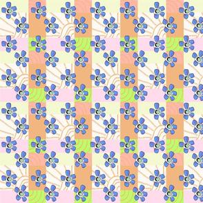 FLOWERY GEOMETRIC THREE BLUE