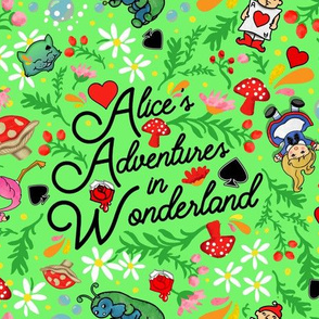 Alice's Adventures in Wonderland woodland fabric floral ditsy
