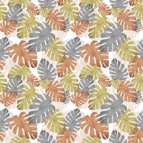 Metallic Tropical Leaves on White
