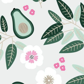 Sweet summer avocado leaves and botanical vegan branch and flowers  garden mint green pink JUMBO