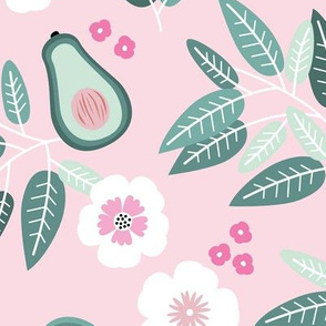 Sweet summer avocado leaves and botanical vegan branch and flowers  garden pink blush green JUMBO