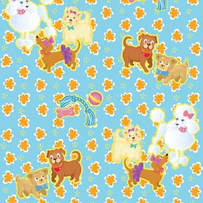 Dogs on Orange Flowers_ Blue_large