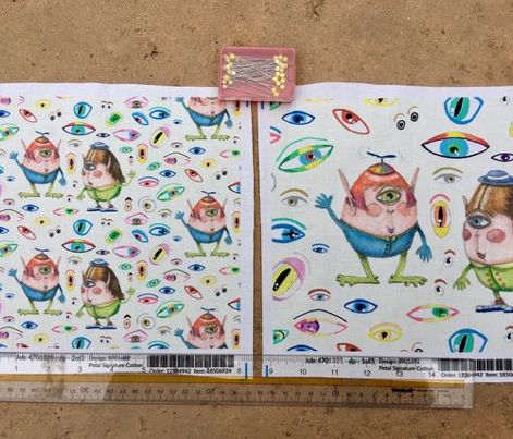 two quirky cute roly poly cyclops and some eyes #2, large scale, off-white cream soft-white natural