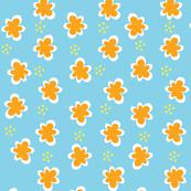 Orange Flowers _ Yellow Dots on Blue