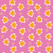 Orange Flowers _ Yellow Dots on Pink