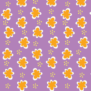 Orange Flowers _ Yellow Dots on Violet