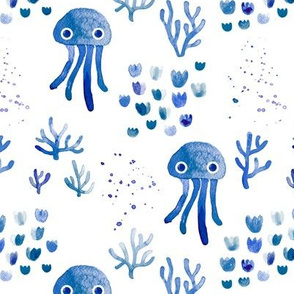 Watercolor under water ocean life jelly fish and coral squid navy blue white