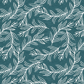 Half Scale Fern Branches (heather teal) Home Decor Bedding, GingerLous