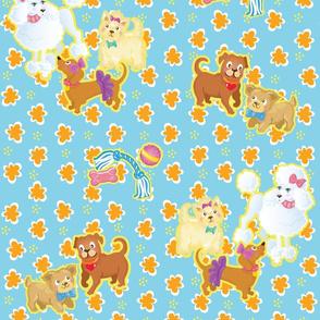 Dogs on Orange Flowers _Blue