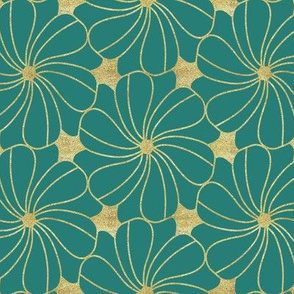 Gold Glitter Floral Turquoise