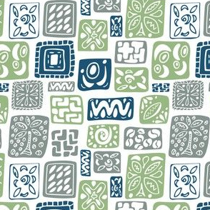 Little Boxes-Vintage-limited palette: Blue green gray *small version