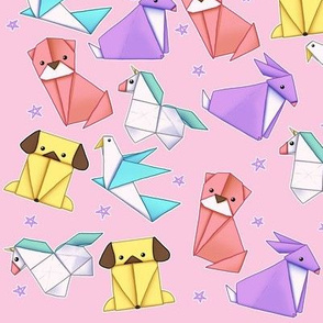 Origami Animals on Pastel Pink