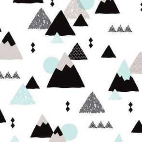 Geometric fuji japan mountain illustration winter woodland  JUMBO
