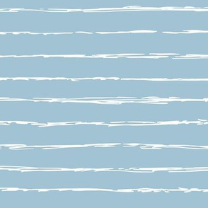 Raw horizontal Inky stripes minimal Scandinavian style trend abstract print sea blue