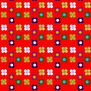 Red flowers mat