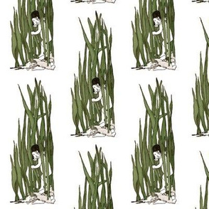 Water Baby In Reeds With White Backgroun Spoonflower