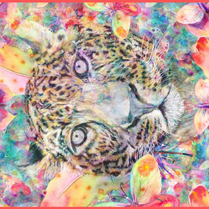 LEOPARD BUTTERFLY PORTRAIT TEA TOWEL PANEL