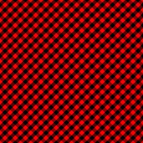 Diagonal Red and Black Mini 1/2 Inch Buffalo Checks