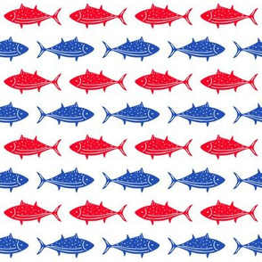 Fish Parade Red White And Blue