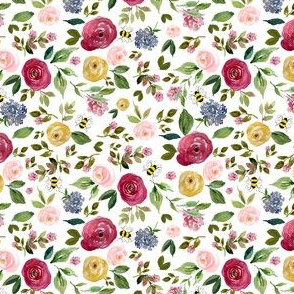 """4"""" Free Falling Woodland Florals with Bees"""