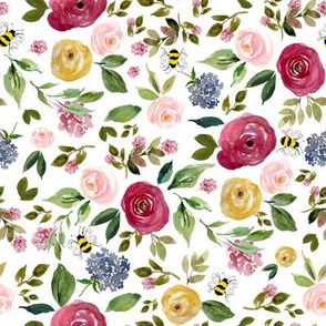 """8"""" Free Falling Woodland Florals with Bees"""