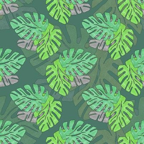 Metallic Tropical Leaves Green